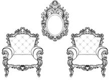 Rich Imperial Baroque Rococo furniture and frames set. French Luxury carved ornaments. Vector Victorian exquisite Style Royalty Free Stock Images