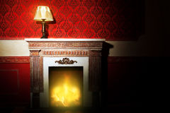 Rich interior with antique lamp and fireplace in red vintage roo Royalty Free Stock Image