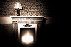Rich interior with antique lamp and fireplace in red vintage roo Stock Photos