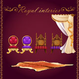 Rich interior, bear pelt, chairs and curtain. Items of rich interior, bear pelt, chairs and curtain Royalty Free Stock Photography