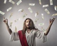 Rich Jesus. Throwing money away Royalty Free Stock Photos