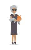 Rich Lady con el animal doméstico en la piel de lujo aislada en blanco Fotos de archivo