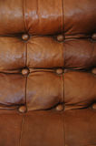 Rich Leather. Rich brown stylish leather couch. Detail shows deep buttoning Royalty Free Stock Photos