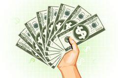 Rich Man. Illustration of man holding dollar currency on abstract background Stock Photography