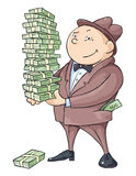 The Rich Man. With a bunch of money royalty free illustration