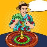 Rich Man Behind Roulette Table che celebra grande vittoria Casinò che gioca Pop art Immagine Stock
