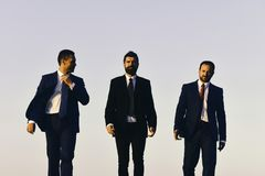 Rich man. Business man. Managers go ahead and talk. Leaders with beard. And smiling faces discuss project. Business and success concept. Board of businessmen Royalty Free Stock Image