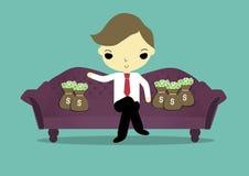 Rich man. Businessman sit on sofa was around of sack of money Stock Image