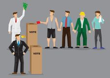 Rich Man Buying Votes Through-Bestechungs-Vektor-Illustration Stockfoto
