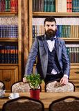 Rich man with calm face near bookcase. Aristocrat stands in luxury interior and looks confident. Bearded man in expensive suit in his cabinet. Nobility, luxury royalty free stock photos