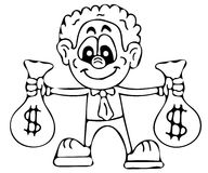 Rich man coloring pages Stock Image