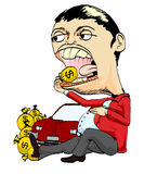 Rich man or coruptor eat dollars. Coruptor or richman eat dollar with shag of money and car Royalty Free Stock Images