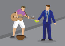 Rich Man Giving Money al Busker Vector Illustration Imagen de archivo