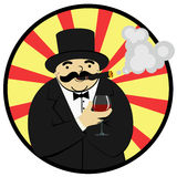Rich man with a glass of wine Royalty Free Stock Photography