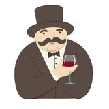 Rich man with a glass of wine Royalty Free Stock Image