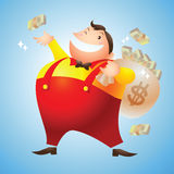 Rich man happy. Scatter money Stock Images