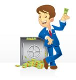 Rich man and his vault. Wealth and rich man standing next to his money vault vector illustration