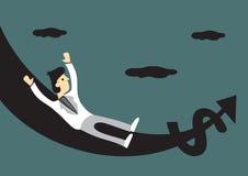 Rich Man on Money Slide Vector Cartoon Illustration Stock Photography