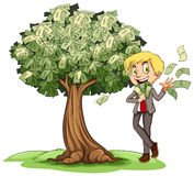 Rich man with money on tree. Illustration Royalty Free Stock Photo
