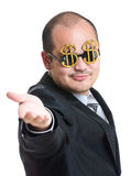 Rich man open plam hand Stock Image
