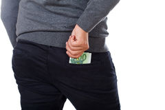 Rich man. Photo of a businessman with money in his pocket royalty free stock image