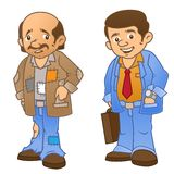 Rich man, Poor man. 2 illustrations showing a condition when he is poor and rich Stock Image