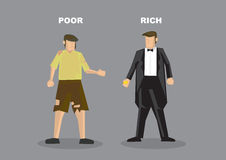 Rich Man Poor Man Vector Illustration. Vector illustration of homeless poor man in torn clothes and successful rich man in tuxedo. Conceptual cartoon characters stock illustration
