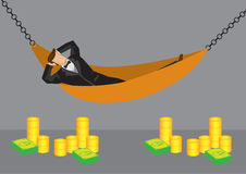 Rich Man Resting in Hammock Vector Cartoon Illustration Royalty Free Stock Photography