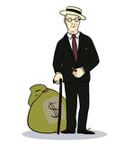 Rich man with sack of money.  Illustration of Royalty Free Stock Image