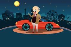 Rich Man Standing na frente de seu carro desportivo Imagens de Stock Royalty Free