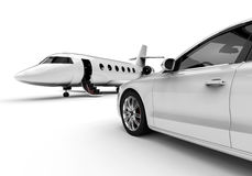 Rich man vehicles painted in white. 3D render image representing a rich man transportation vehicles painted in white isolated on white background Stock Image