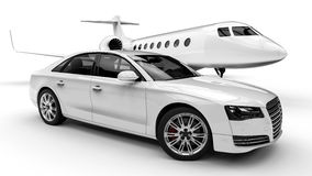 Rich man vehicles painted in white. 3D render image representing a rich man transportation vehicles painted in white isolated on white background Stock Photos