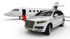 Rich man vehicles painted in white Royalty Free Stock Photos