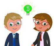 Rich managers with dollar in eyes. Successful business people with dollar in eyes, vector illustration Stock Photography