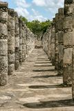 Warriors temple columns at Chichen Itza. Royalty Free Stock Photography