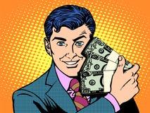 Rich med buntar av dollar äganderätt för home tangent för affärsidé som guld- ner skyen till Royaltyfri Fotografi