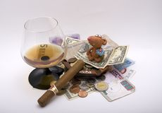 Rich mouse. It is about rich mouse. It was in many countries, that's why there are many different coins and bonds Royalty Free Stock Photo