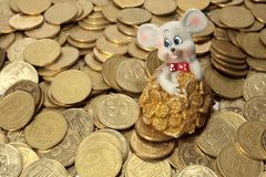 Rich mouse and his money stock photography