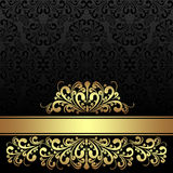 Rich ornamental black Background with golden royal Border. Royalty Free Stock Photo
