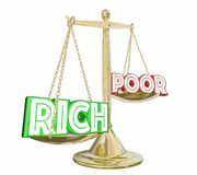 Rich Outweighs Poor Haves or Not Scale Balance Class Warfare 3d. Illustration Stock Images