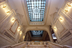 Rich palace indoors. Stairway and room inside rich bucharest parliament Stock Photo