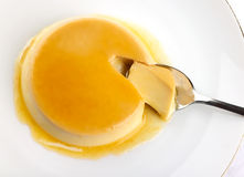 Rich Panna Cotta with caramel Stock Photography