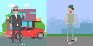 Rich Pauper Men. Difference Between Social Levels. Rich and pauper men. Vector illustration of differences between social levels of population. Successful and Royalty Free Stock Photos