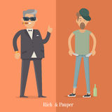Rich and Pauper Men. Social Level. Human Poster. Rich and pauper men. Vector illustration of differences between social levels of population. Successful and Stock Photography