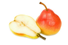 Rich pear and a half isolated Stock Images