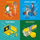 Rich People Isometric Design Concept. With bank accounts, expensive clothing, vip resorts, golden gadgets isolated vector illustration Stock Photography