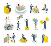 Rich People Isometric Icons. Set of isometric icons rich people with big money, during golden rain, expensive shopping isolated vector illustration Stock Image