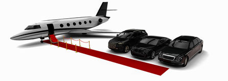 Rich People Rides. 3D render image representing a rich people transportation vehicles Royalty Free Stock Photos