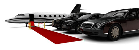 Rich People Rides. 3D render image representing a rich people transportation vehicles Royalty Free Stock Images