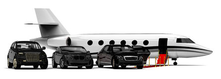 Rich People Rides. 3D render image representing a rich people transportation vehicles vector illustration